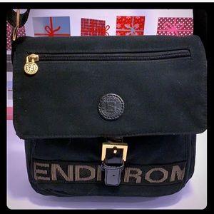 VTG FENDI Black Unisex Canvass CrossbodySling Bag